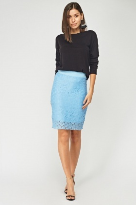 Lace Overlay Midi Pencil Skirt