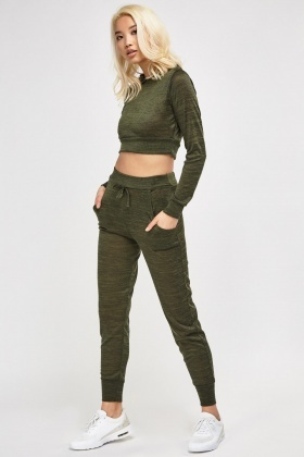 30bf5d138a5441 Hooded Crop Top And Sweatpants Set - Just £5