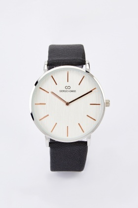 Mens Faux Leather Strap Watch