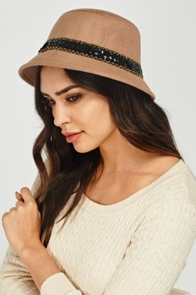 Sequin Trim Wool Blend Hat