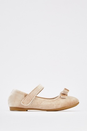 Velveteen Bow Kids Ballet Pumps