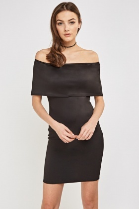 Black Overlay Bandeau Dress