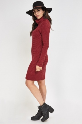 store luxuriant in design best Cable Knit Midi Jumper Dress