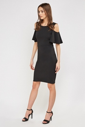 Cut-Out Shoulder Contrast Sleeve Dress
