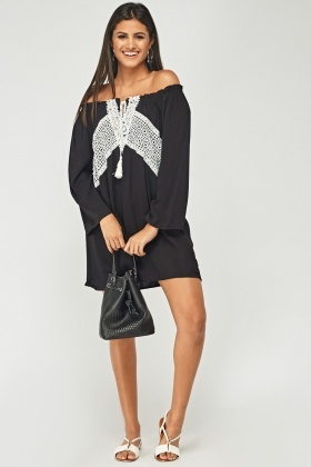Crochet Contrast Front Off Shoulder Dress