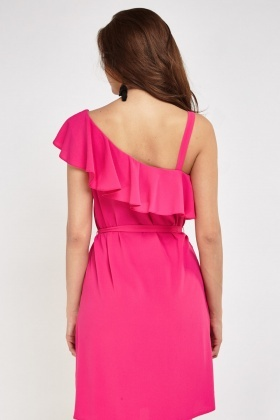 Frilly Asymmetric Tie Up Dress