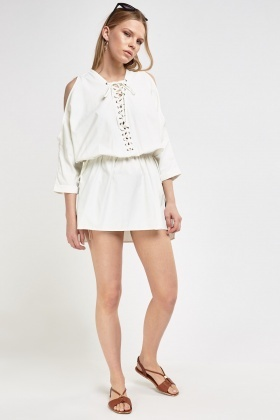 Cut Out Shoulder Lace Tie Front Kaftan Dress