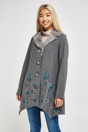 Faux Fur Embroidered Swing Coat
