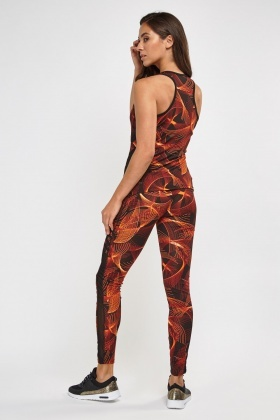 Printed Sports Tank top And Mesh Contrast Leggings Set