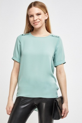 Stud Embellished Front Blouse Top