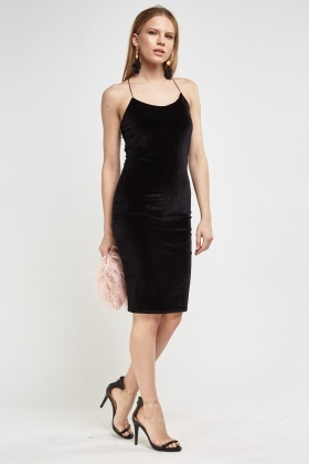 Velvet Little Black Dress With Criss Cross Back