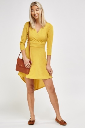 Wrap Front Asymmetric Dress