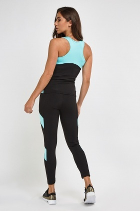 Colour Block Sports Tank Top And Leggings Set