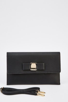 Detailed Front Faux Leather Clutch Bag