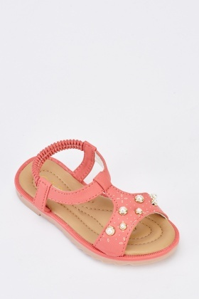 Embellished Faux Pearl Girls Sandals