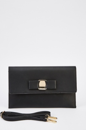 Faux Leather With Bow Front Clutch Purse