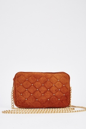 Quilted Suede Shoulder Bag With Gold Chain Straps