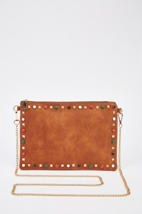 Studded Front Faux Leather Clutch Bag