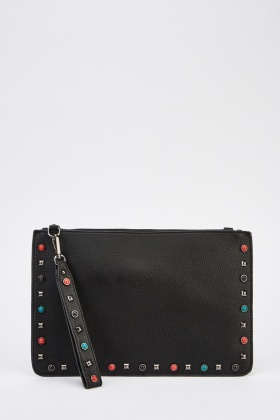 Studded Trim Faux Leather Clutch Bag
