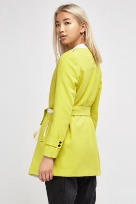 Collarless Coat With Tie Waist