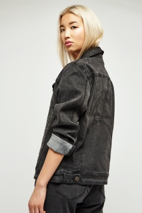 Encrusted Lapel Front Denim Jacket