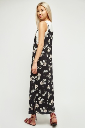 Floral Print Maxi Dress With Deep Side Slit
