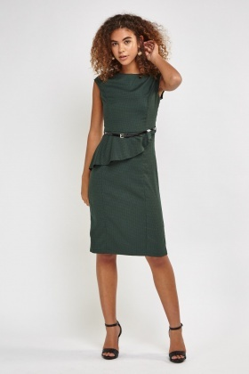 Peplum Midi Formal Dress