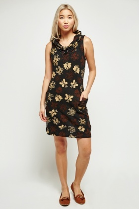 Printed Cowl Neck Tunic Dress