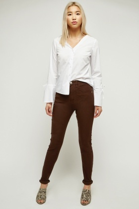Skinny Fit Chocolate Denim Jeans