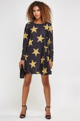Star Printed Smock Dress