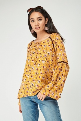 Floral Flare Sleeve Mustard Top