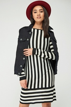 Mono Striped Knitted Dress