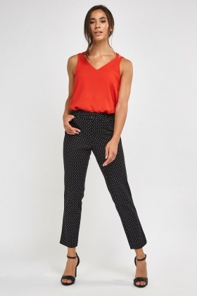 Printed Cigarette Black Trousers