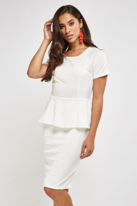 Short Sleeve Peplum White Dress