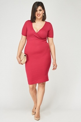 Wrap Front Pencil Dress
