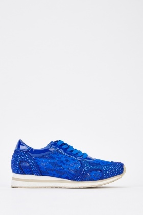 Lace Contrast Encrusted Trainers