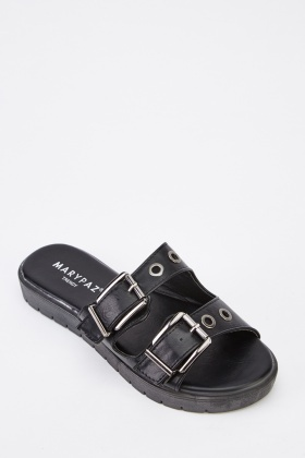 Twin Buckle Faux Leather Sandals