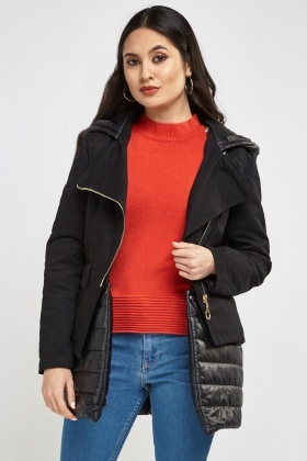Contrasted Black Hooded Jacket