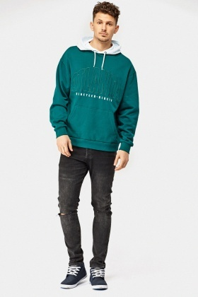 Green Hooded Logo Front Hoodie