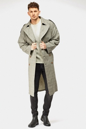 Long Plaid Mens Trench Coat