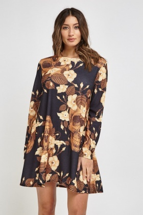 Skull Mixed Print Swing Dress