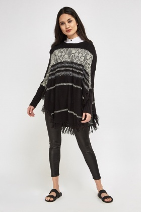 Speckled Striped Knitted Poncho