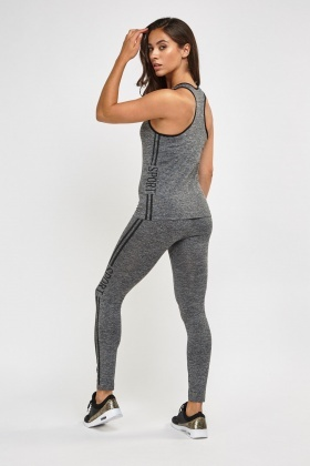 Sport Print Side Sports Tank And Leggings Set