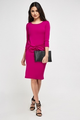 Twist Knot Front Midi Dress