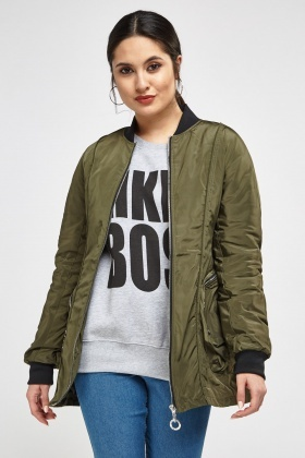 Zipped Ribbed Trim Bomber Jacket