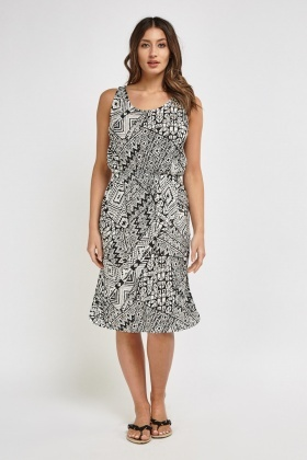 Aztec Monochrome Print Midi Dress
