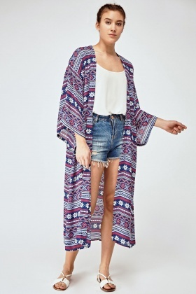Mixed Print Sheer Long Kaftan