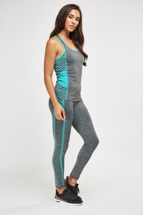 Printed Side Sports Tank And Leggings Set