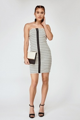 Striped Hook Front Bandeau Dress