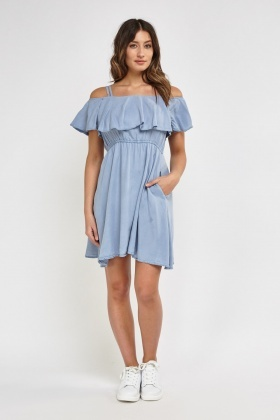 Twin Straps With Ruffle Overlay Off Shoulder Dress